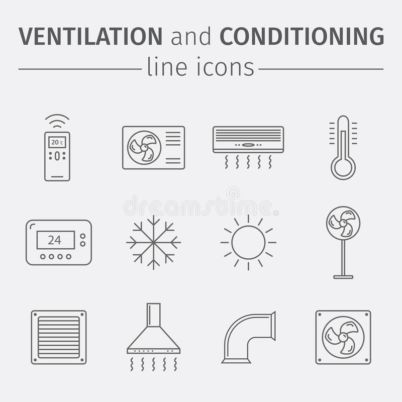 Вентиляция и подготовлять Контроль климата Тонкая линия комплект значка иллюстрация вектора