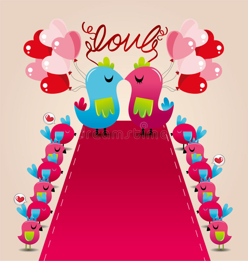 венчание влюбленности карточки птицы иллюстрация вектора