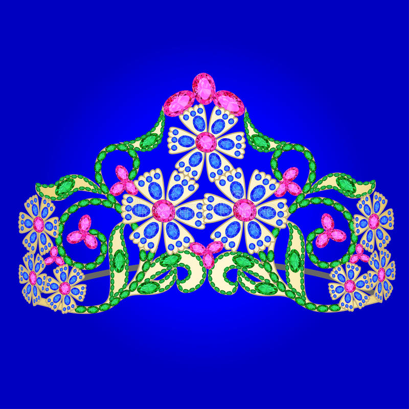 Венчание женщин тиары с драгоценными камнями на сини иллюстрация штока