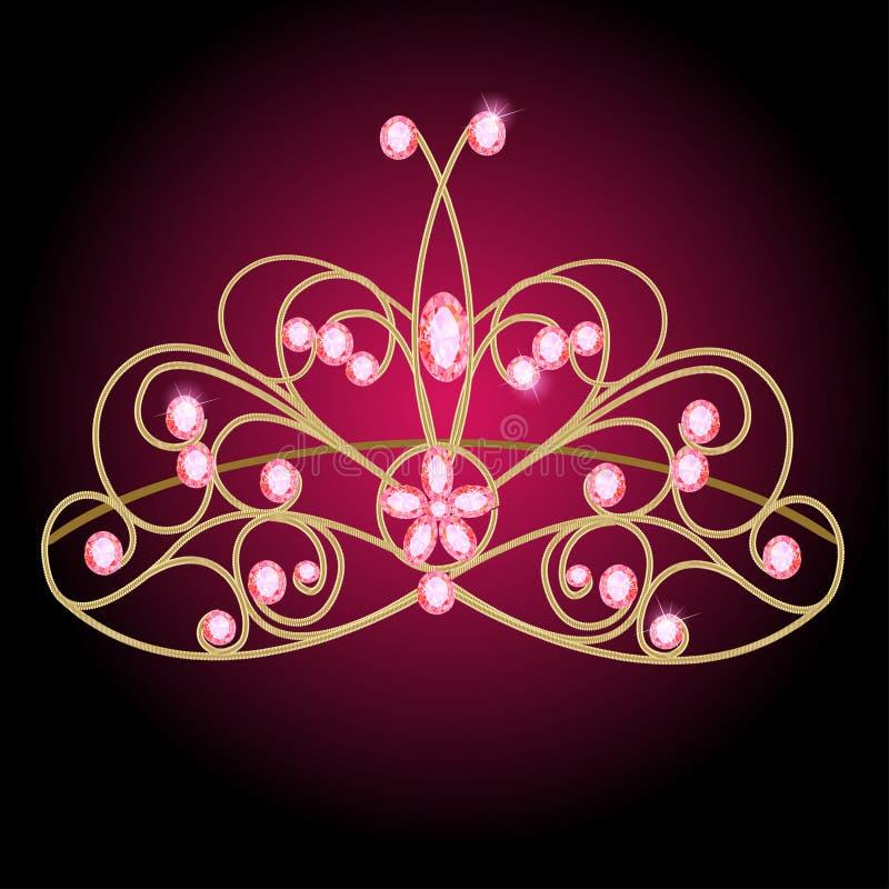 Венчание женщин тиары с розовыми драгоценными камнями иллюстрация штока
