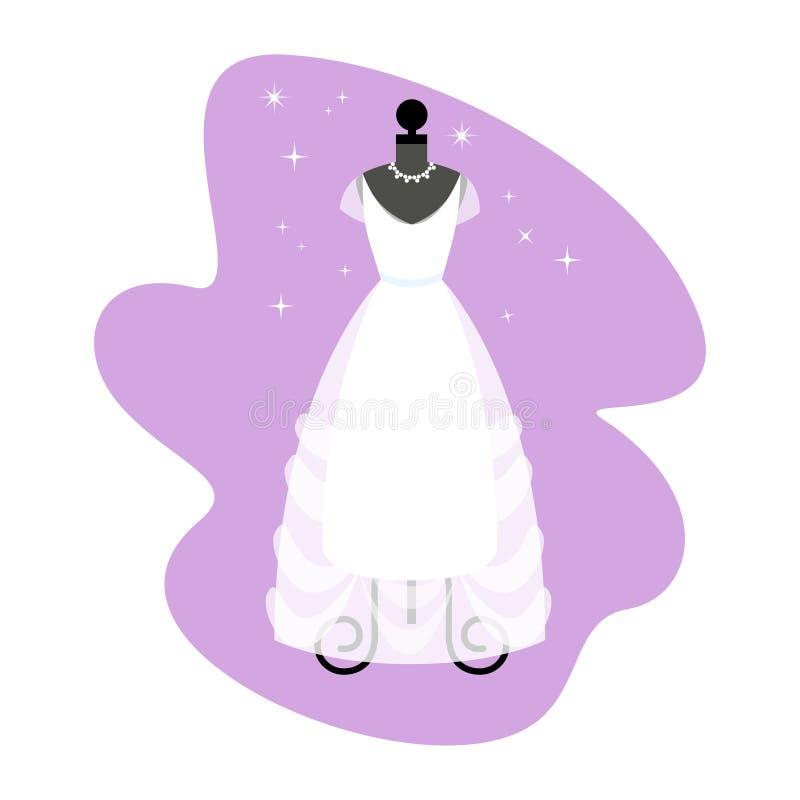 венчание заказа части платья Модная белая мантия на манекене иллюстрация штока