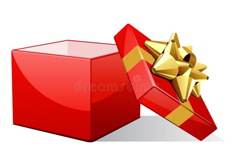 венчание золота подарка смычка дня рождения открытое иллюстрация вектора