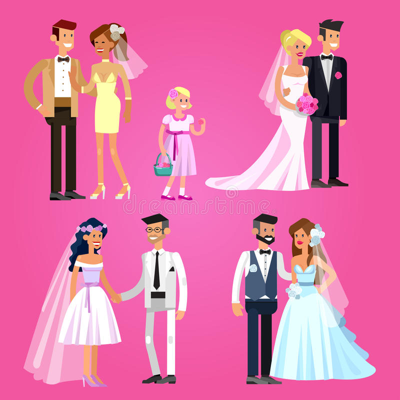 венчание пар счастливое иллюстрация штока