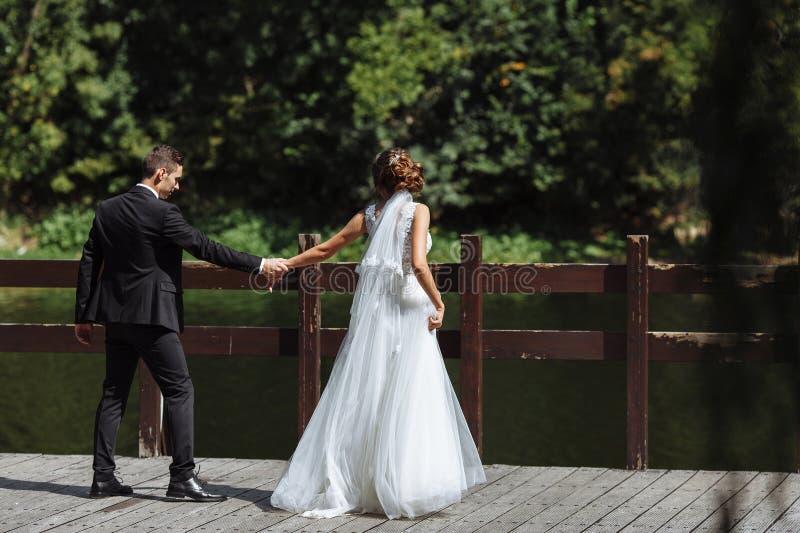венчание пар шикарное Свадьба для 2 Милая невеста и стильное groo стоковое изображение rf