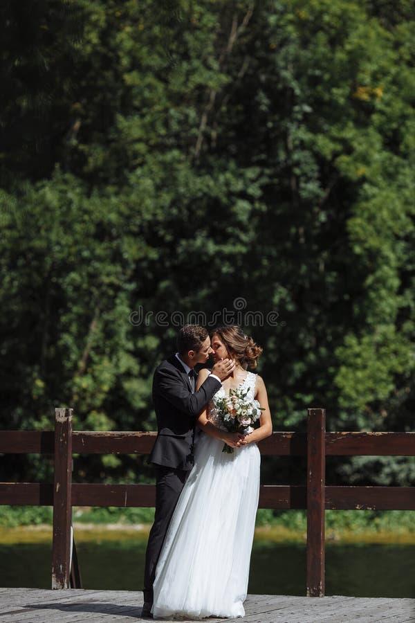 венчание пар шикарное Свадьба для 2 Милые невеста и стильные холят стоковые изображения