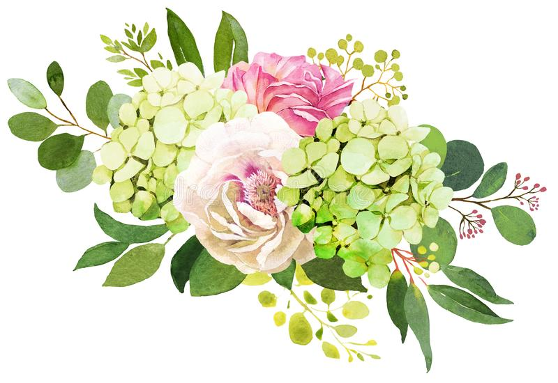 венчание переднего плана фокуса 3 букетов Пион, гортензия и розовая акварель il цветков иллюстрация штока