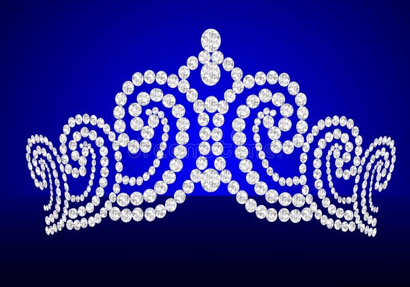 венчание поворота голубого diadem предпосылки женственное иллюстрация штока