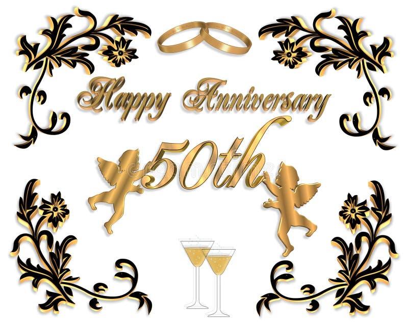 венчание приглашения годовщины 3d 50th иллюстрация штока