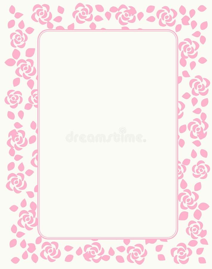 венчание приглашения граници розовое иллюстрация вектора