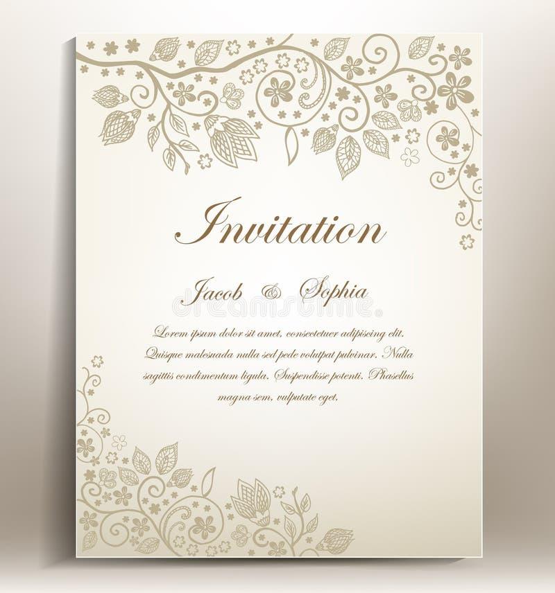 венчание романтичного символа приглашения сердец элегантности предпосылки теплое иллюстрация вектора