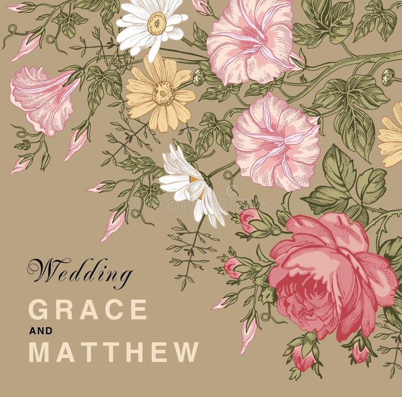 венчание романтичного символа приглашения сердец элегантности предпосылки теплое Карточка красивого стоцвета петуньи цветков розо бесплатная иллюстрация