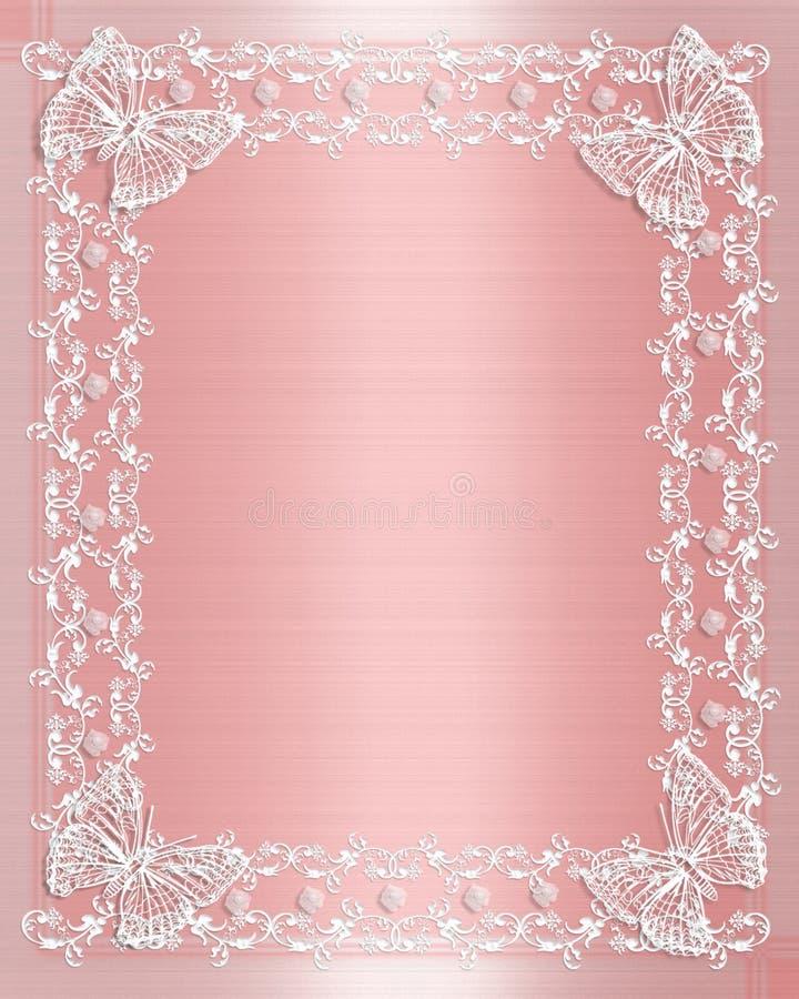 венчание сатинировки пинка шнурка граници иллюстрация вектора