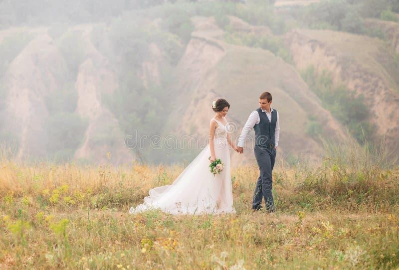 венчание сбора винограда дня пар одежды счастливое Стильные молодые пары идя на предпосылку живой природы на заходе солнца Точное стоковые фото