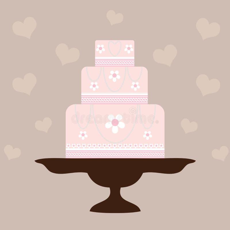 венчание торта розовое бесплатная иллюстрация