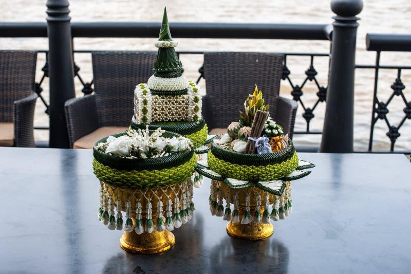 венчание церемонии тайское Объект и артефакты украшения традиционные стоковое изображение