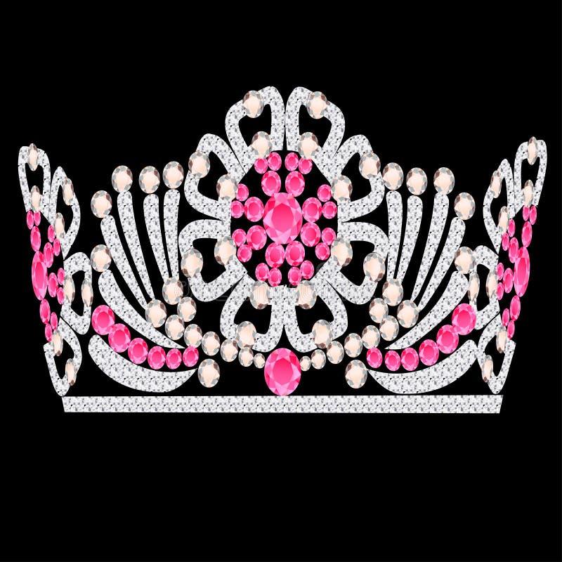 венчание diadem кроны женственное розовое каменное бесплатная иллюстрация