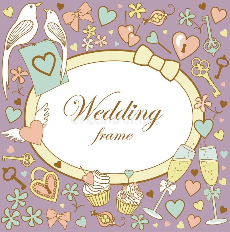 Венчани-рамк-на-лилово иллюстрация вектора