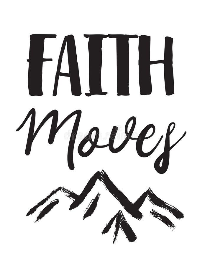 Вера двигает горы иллюстрация вектора