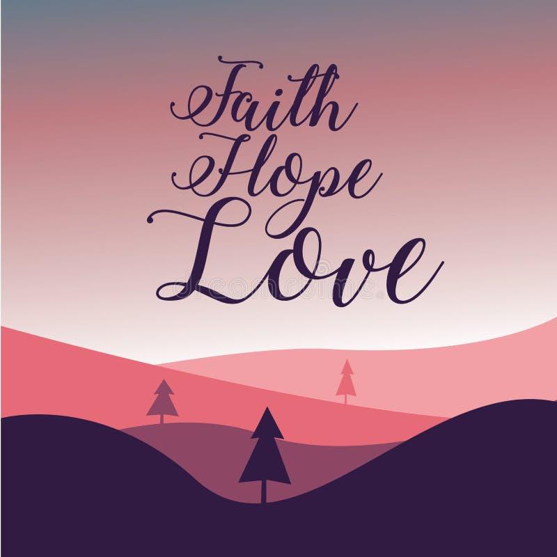 Вера, надежда и любовь, с треками, драматическими облаками, солнцезащитными горами и небом стоковое изображение rf