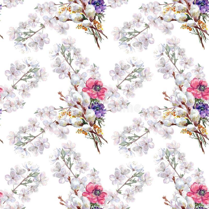Верба, цветок вишни, букет, акварель, делает по образцу безшовное бесплатная иллюстрация