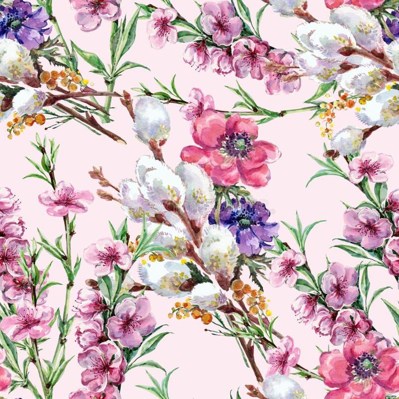 Верба, цветок персика, букет, акварель, делает по образцу безшовное иллюстрация вектора