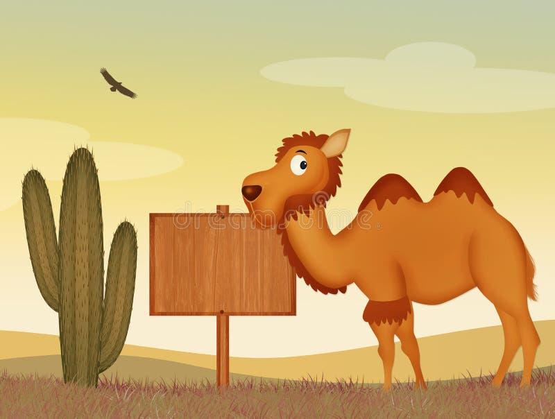 Верблюд в пустыне иллюстрация вектора