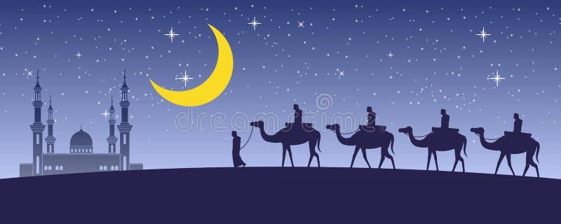 Верблюд езды каравана мусульманский к мечети Дубай вечером полной звезд и красивой луны, традиции аравийского, дизайна силуэта иллюстрация вектора