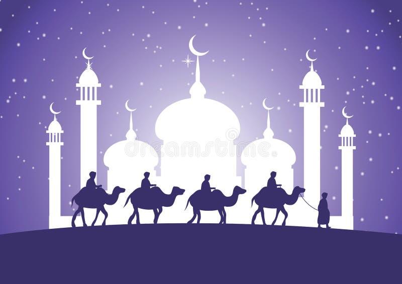 Верблюд езды мусульман каравана к мечети иллюстрация вектора