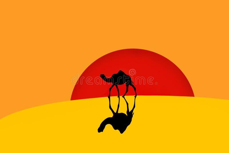 Верблюд идя в пустыню бесплатная иллюстрация