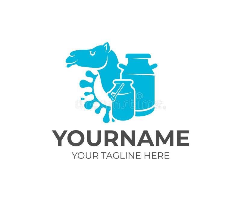 Верблюд, консервные банки молока и молоко выплеска, дизайн логотипа Молочная ферма, ферма молока, размножение скотин и запас подн бесплатная иллюстрация