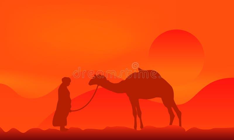 верблюд над заходом солнца иллюстрация вектора