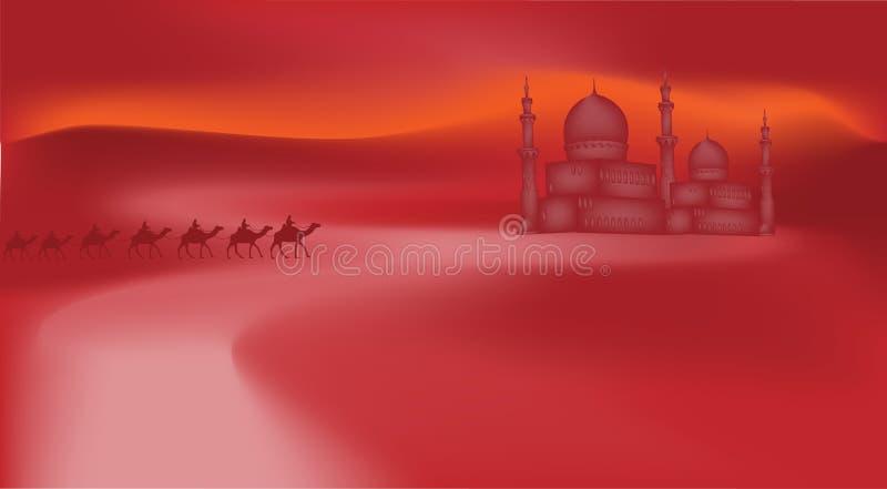 Верблюды в пустыне иллюстрация вектора