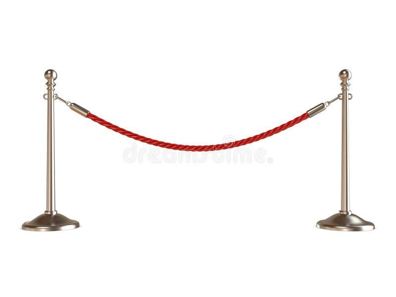 Веревочка барьера на белизне 3d представляют бесплатная иллюстрация