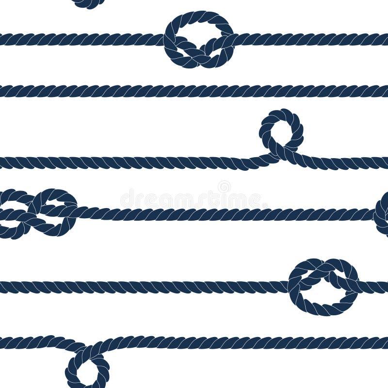 Веревочка военно-морского флота и морские узлы striped безшовная картина в голубом и белом, вектор иллюстрация вектора