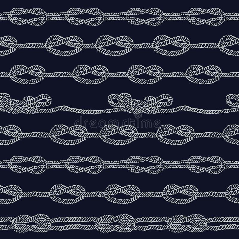 Веревочка военно-морского флота и морские узлы striped безшовная картина иллюстрация штока