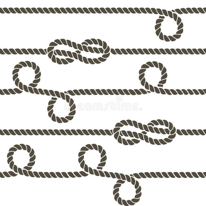 Веревочка военно-морского флота с морскими узлами vector безшовная картина иллюстрация штока
