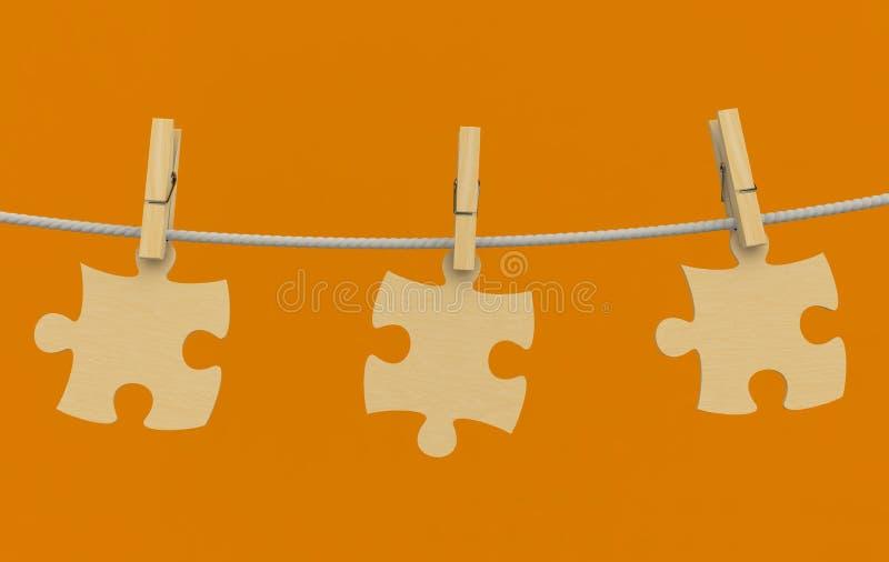 веревочка головоломки шпенька одежд деревянная иллюстрация вектора