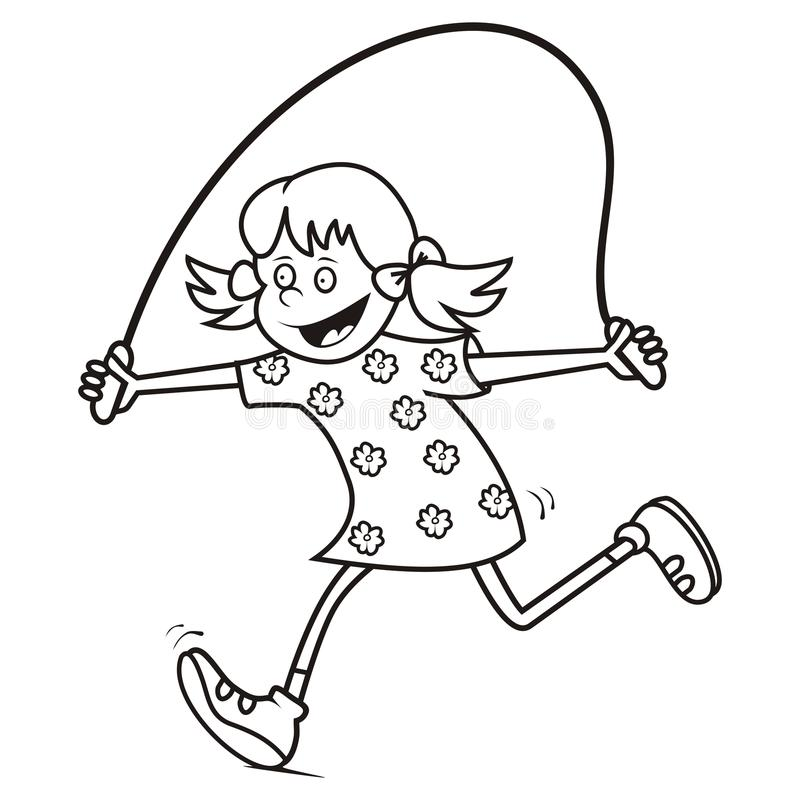 Веревочка девушки и скачки, крася иллюстрация вектора