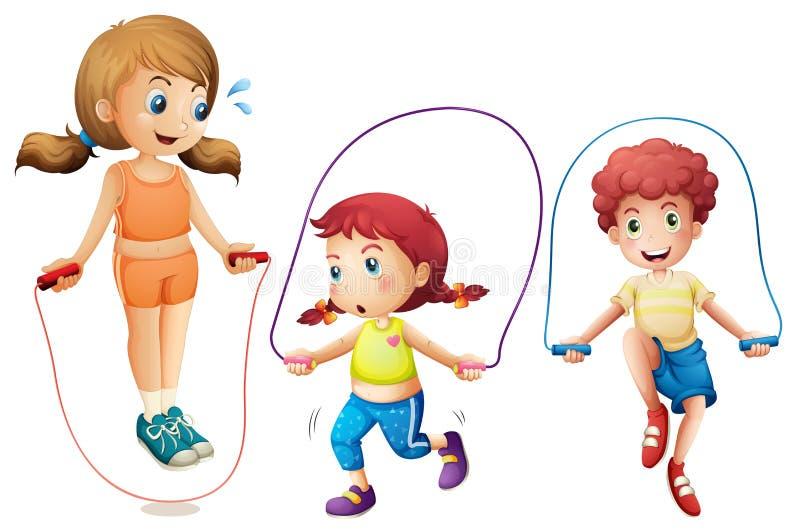 Веревочка 3 детей скача на белой предпосылке иллюстрация вектора