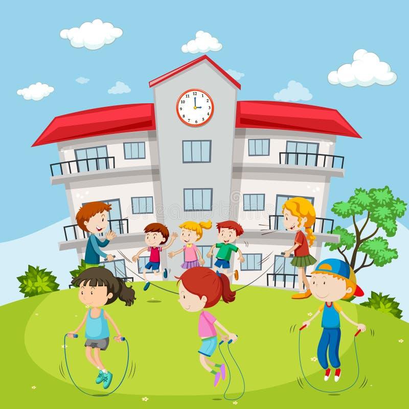 Веревочка детей скача на земле школы иллюстрация вектора