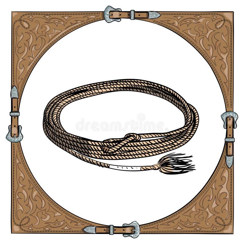 Веревочка икры ковбоя в западной кожаной рамке на белой предпосылке иллюстрация штока