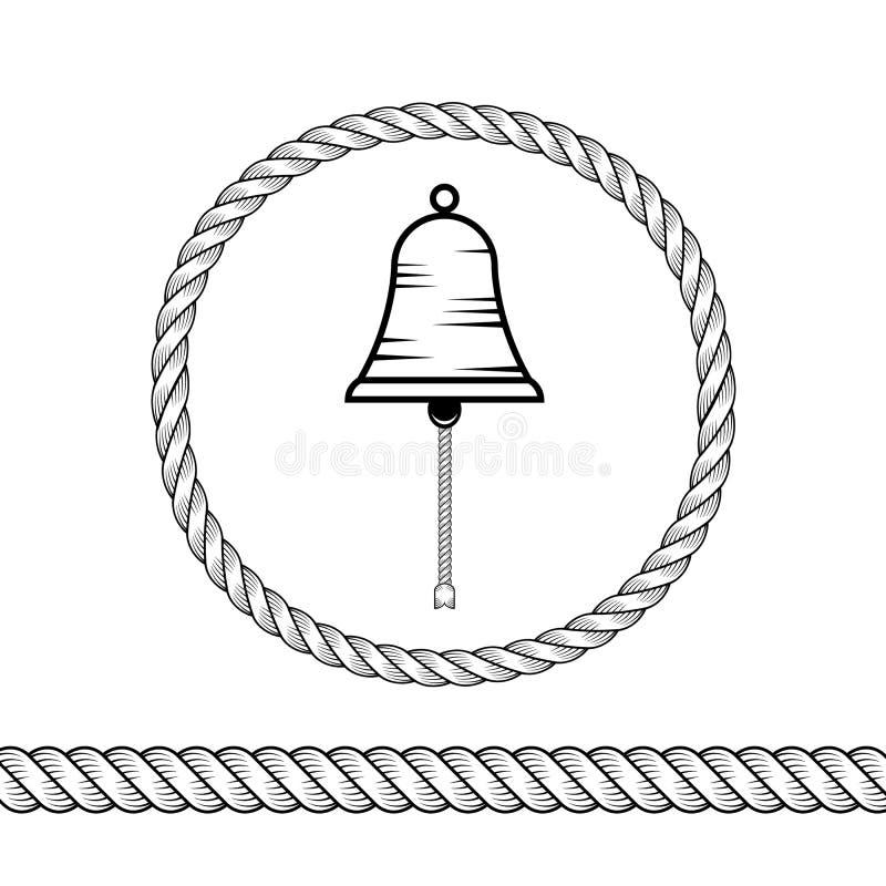 Веревочка и колокол иллюстрация вектора