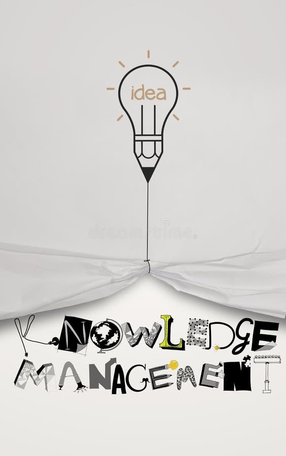 Веревочка притяжки идеи лампочки карандаша открытая сморщила бумажный график выставки иллюстрация штока