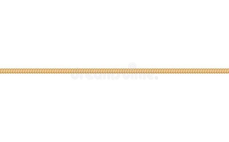 Веревочка прямого cordage морские или вектор скрученного шнура на белой предпосылке иллюстрация штока