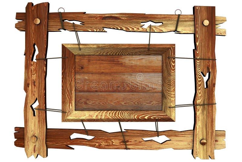 веревочка рамки старая деревянная иллюстрация вектора