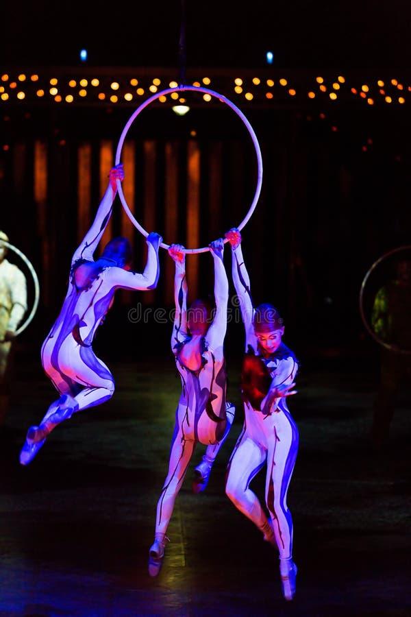 Веревочка совершителей прыгая на выставке 'Quidam' Cirque du Soleil's стоковое изображение rf