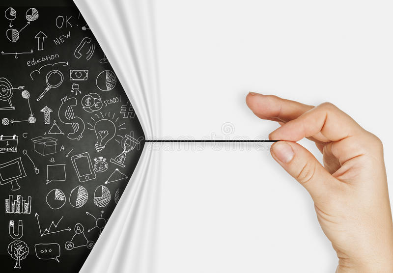 Веревочка тяги руки дела открытая сморщила бумажное strate шоу-бизнеса стоковое фото