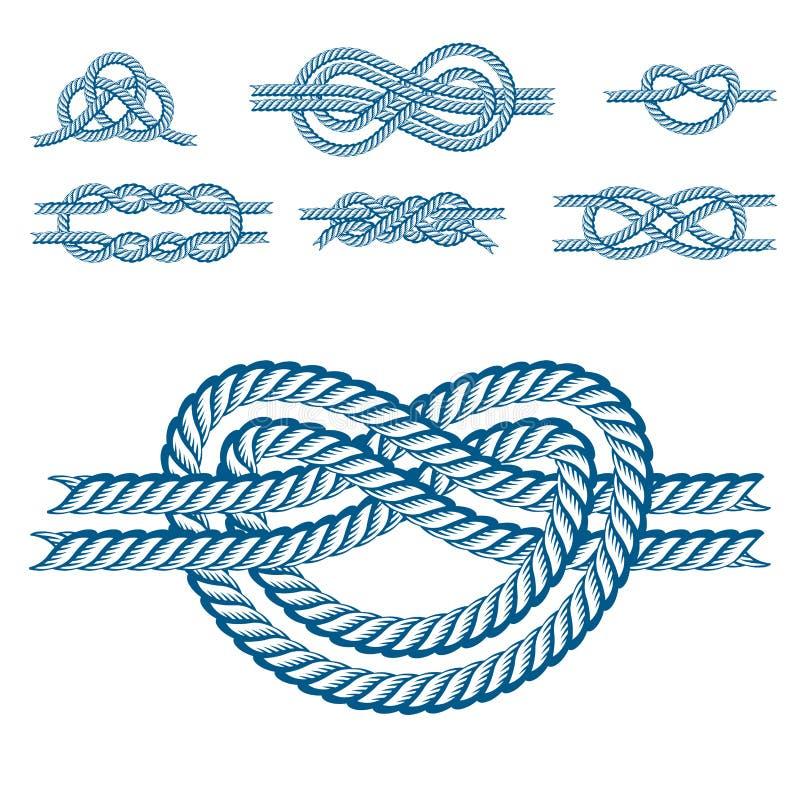 Веревочка шлюпки моря завязывает кабеля военно-морского флота вектора изолированный иллюстрацией знак снасти морского естественны иллюстрация вектора