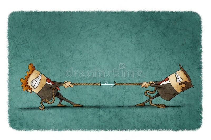 Веревочка 2 людей вытягивая иллюстрация вектора
