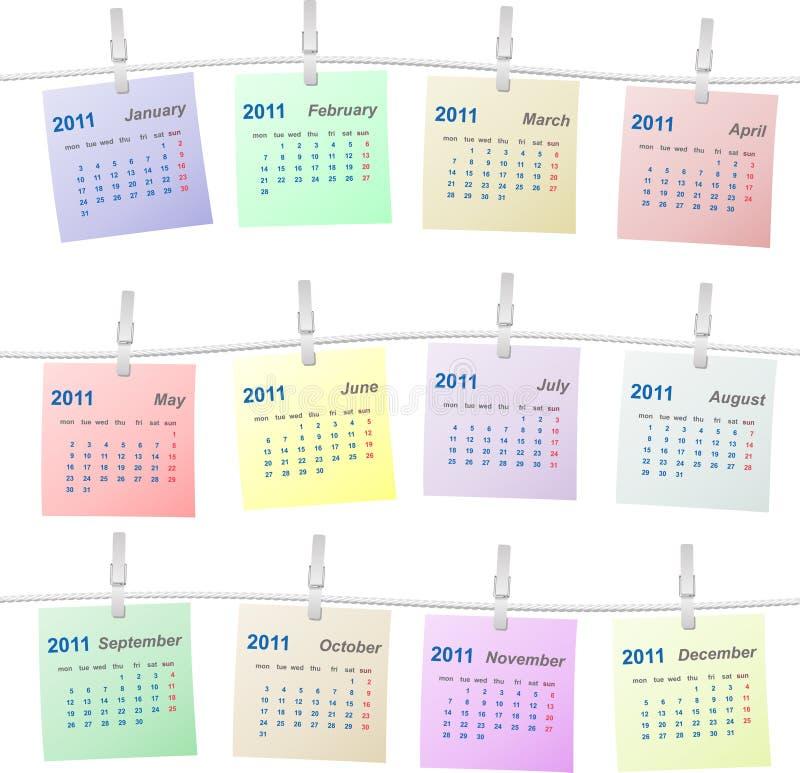 веревочка 2011 календара цветастая иллюстрация вектора